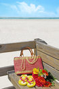 Pretty beach supplies on pier Stock Images