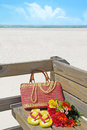 Pretty beach supplies on pier Royalty Free Stock Photo