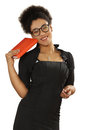 Pretty black girl in glasses with a notebook and pen in the hand Royalty Free Stock Photo