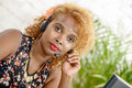 A pretty black woman with headset Royalty Free Stock Photo