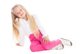 Pretty blond girl on white background Stock Image