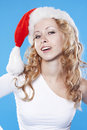 Pretty blond Santa girl Stock Images
