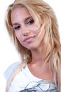 Pretty blond teen girl with noise ring Royalty Free Stock Photo