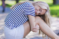 Pretty Blond Teenage Girl in Striped Shirt Posing With Smile Royalty Free Stock Photo