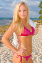 Pretty Blond Woman Bikini Royalty Free Stock Image