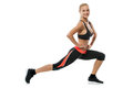 Pretty blonde female exercising isolated on white Royalty Free Stock Photo