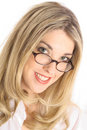 Pretty blonde with glasses headshot angle Royalty Free Stock Images