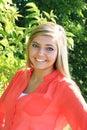 Pretty Blonde High School Senior Girl Outdoor Royalty Free Stock Photo