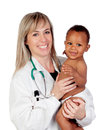 Pretty blonde pediatrician with a beautiful African American bab Royalty Free Stock Photo