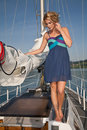 Pretty blong on the yacht Stock Photos