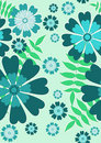 Pretty blue seamless floral pattern Stock Photos