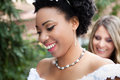 Pretty Bride with her maid of honor behind her Stock Photos