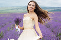 Pretty bride at purple lavender field Royalty Free Stock Photo