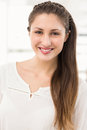 Pretty brunette businesswoman smiling