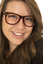 Pretty brunette woman smiling wearing glasses close-up portrait Royalty Free Stock Photo