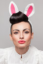 Pretty bunny girl portrait of Royalty Free Stock Photography