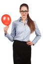Pretty business woman holding balloon inflated Royalty Free Stock Image