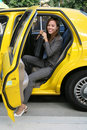 Pretty Business Woman in Taxi Royalty Free Stock Photography