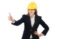 Pretty businesswoman with hard hat and in protective eyeglasses isolated on white Royalty Free Stock Images