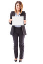 Pretty businesswoman holding up a sign Royalty Free Stock Photo