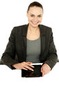 Pretty businesswoman using tablet device Stock Image