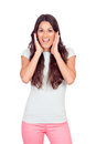 Pretty casual girl screaming isolated on a white background Stock Image