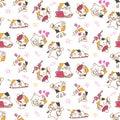 Pretty cats seamless pattern background