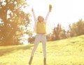 Pretty cheerful woman having fun in sunny autumn day Royalty Free Stock Photo