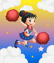 A pretty cheerleader with her red pompoms ilustration of Stock Photos