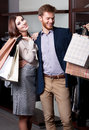 Pretty couple glad to go shopping Royalty Free Stock Photography