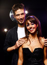Pretty couple young people dancing disco Stock Image