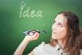 Pretty and creativity teacher or student has good idea! Royalty Free Stock Photo