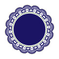 Pretty crochet circle doily plate frame handcrafted concept Stock Photos