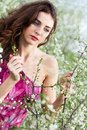 Pretty curly brunette touching the branch of flowering tree Royalty Free Stock Photography