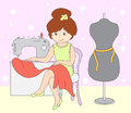 Pretty cute seamstress is sitting at the sewing machine. Mannequ