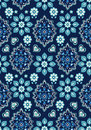 Pretty ditsy floral on navy hearts and flowers bandana print seamless background Stock Photos