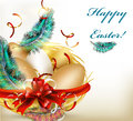 Pretty Easter greeting card with nest, eggs and ferns Royalty Free Stock Photo
