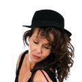 Pretty entertainer headshot brunette woman Stock Photos