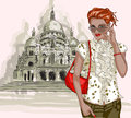 Pretty fashion girl on a basilique du sacre coeur vector illustration of background Stock Image