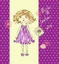 Pretty fashion girl beautiful clothes for little hand drawn illustration Royalty Free Stock Photo