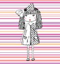 Pretty fashion girl hand drawn illustration Royalty Free Stock Images