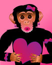 Pretty fashionist chimp with heart cute fashionista holding a Royalty Free Stock Images