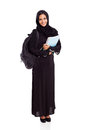 Pretty female arabian university student full length isolated white Royalty Free Stock Photos