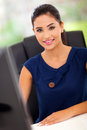 Pretty female office worker her work station Royalty Free Stock Images