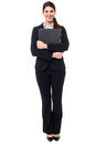 Pretty female secretary holding business files executive in formals Stock Images