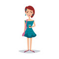 Pretty female student with a fashionable hairstyle in a bondi blue dress and earrings cartoon character vector
