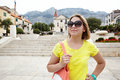 Pretty female tourist attractions looks in european city of croatia Royalty Free Stock Photo