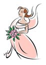 Pretty feminine bride or bridesmaid in pink dress holding a posy of flowers with a swirling train flying up behind sketch style Stock Photography