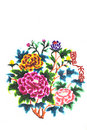 Pretty flowers  color paper cutting Stock Image