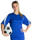 Pretty football fan in blue jersey on white background Royalty Free Stock Image